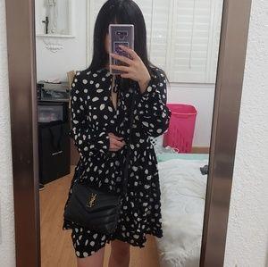 Abstract polka dot flowy dress